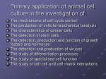 primary application of animal cell culture in the investigation of