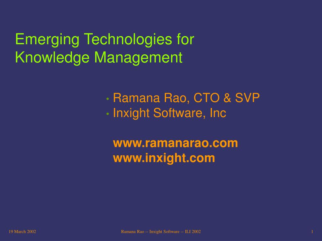emerging technologies for knowledge management l.