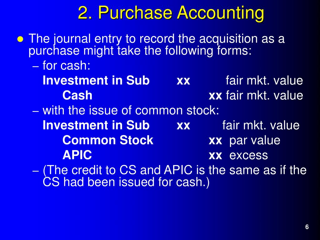The journal entry to record the acquisition as a purchase might take the following forms: