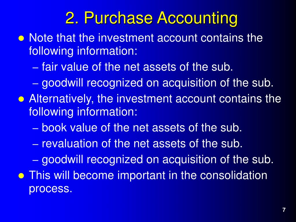 Note that the investment account contains the following information: