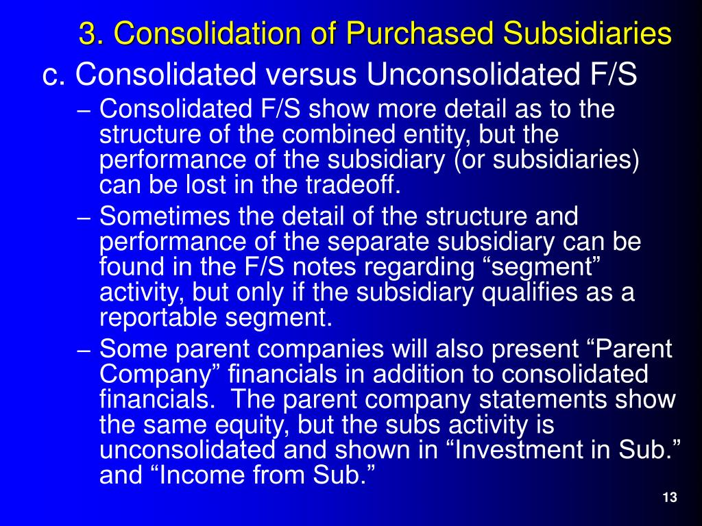 c. Consolidated versus Unconsolidated F/S