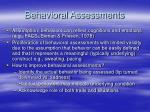 behavioral assessments