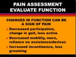pain assessment evaluate function
