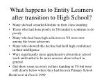 what happens to entity learners after transition to high school