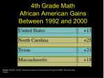 4th grade math african american gains between 1992 and 2000