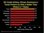8th grade writing african americans in texas perform as well or better than whites in 7 states