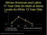 african american and latino 17 year olds do math at same levels as white 13 year olds