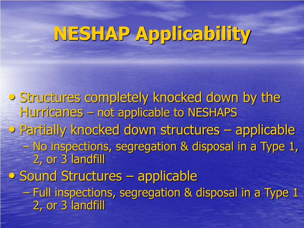 NESHAP Applicability