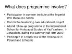 what does programme involve
