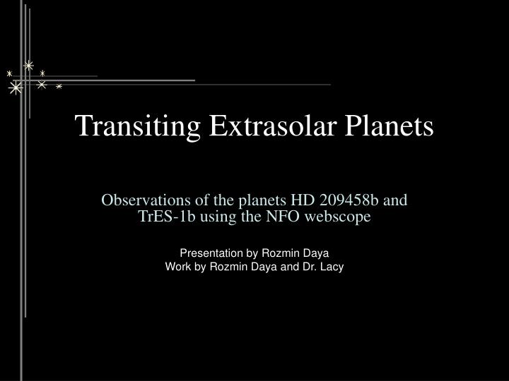 transiting extrasolar planets