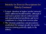 intensity for exercise prescriptions for elderly continued
