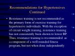 recommendations for hypertensives continued77