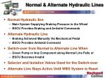 normal alternate hydraulic lines