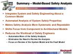 summary model based safety analysis