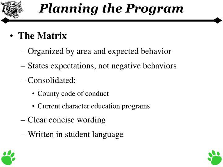 Planning the Program