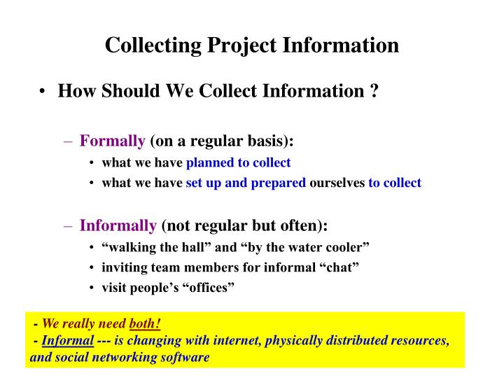 collecting project information n.