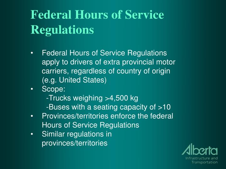 Federal hours of service regulations