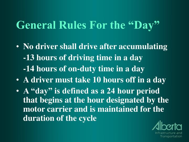 """General Rules For the """"Day"""""""