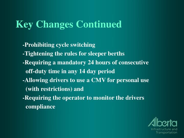 Key Changes Continued