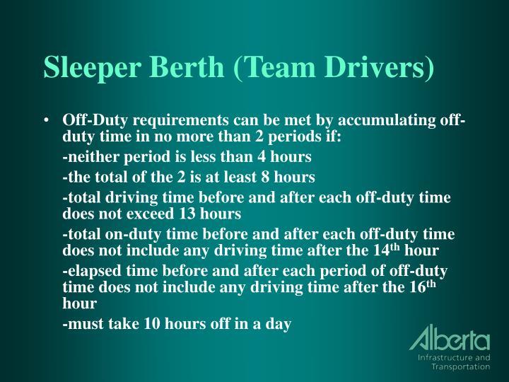 Sleeper Berth (Team Drivers)