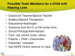 possible team members for a child with hearing loss