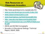 web resources on classroom acoustics