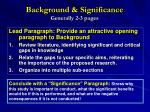 background significance generally 2 3 pages