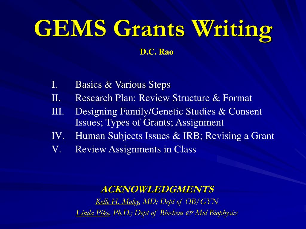 gems grants writing l.