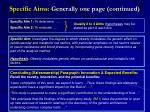 specific aims generally one page continued