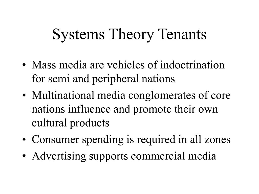 Systems Theory Tenants