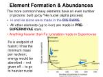 element formation abundances