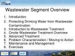 wastewater segment overview