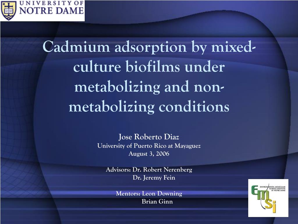 cadmium adsorption by mixed culture biofilms under metabolizing and non metabolizing conditions l.