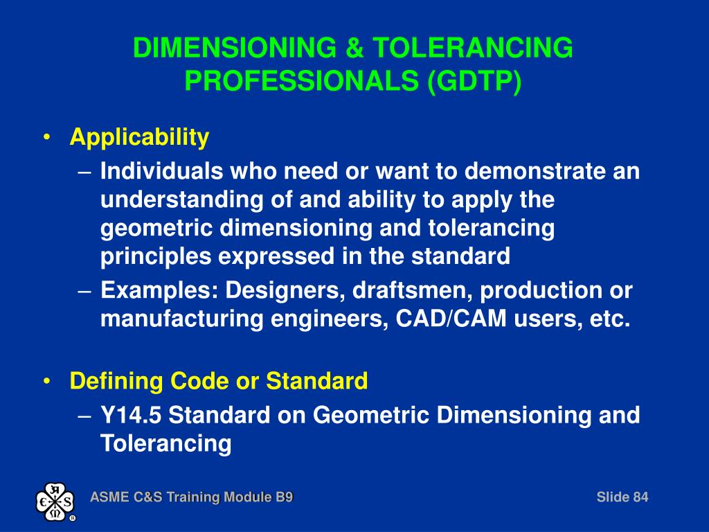 DIMENSIONING & TOLERANCING PROFESSIONALS (GDTP)