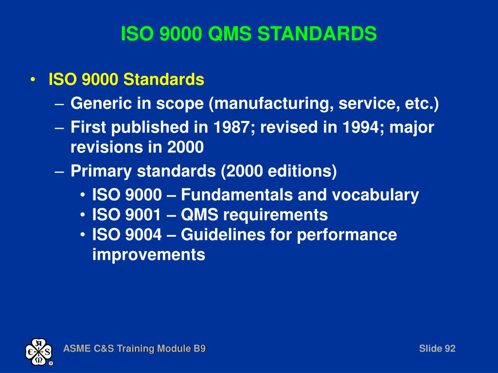 ISO 9000 QMS STANDARDS