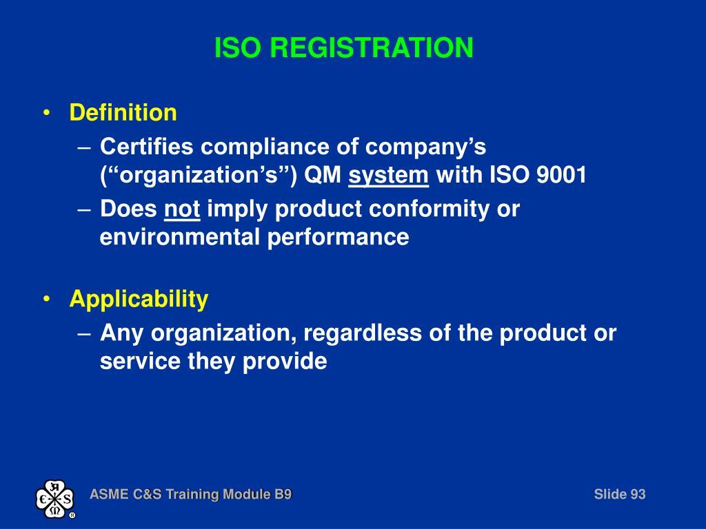 ISO REGISTRATION