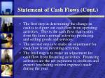 statement of cash flows cont