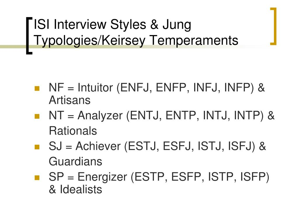 ISI Interview Styles & Jung Typologies/Keirsey Temperaments