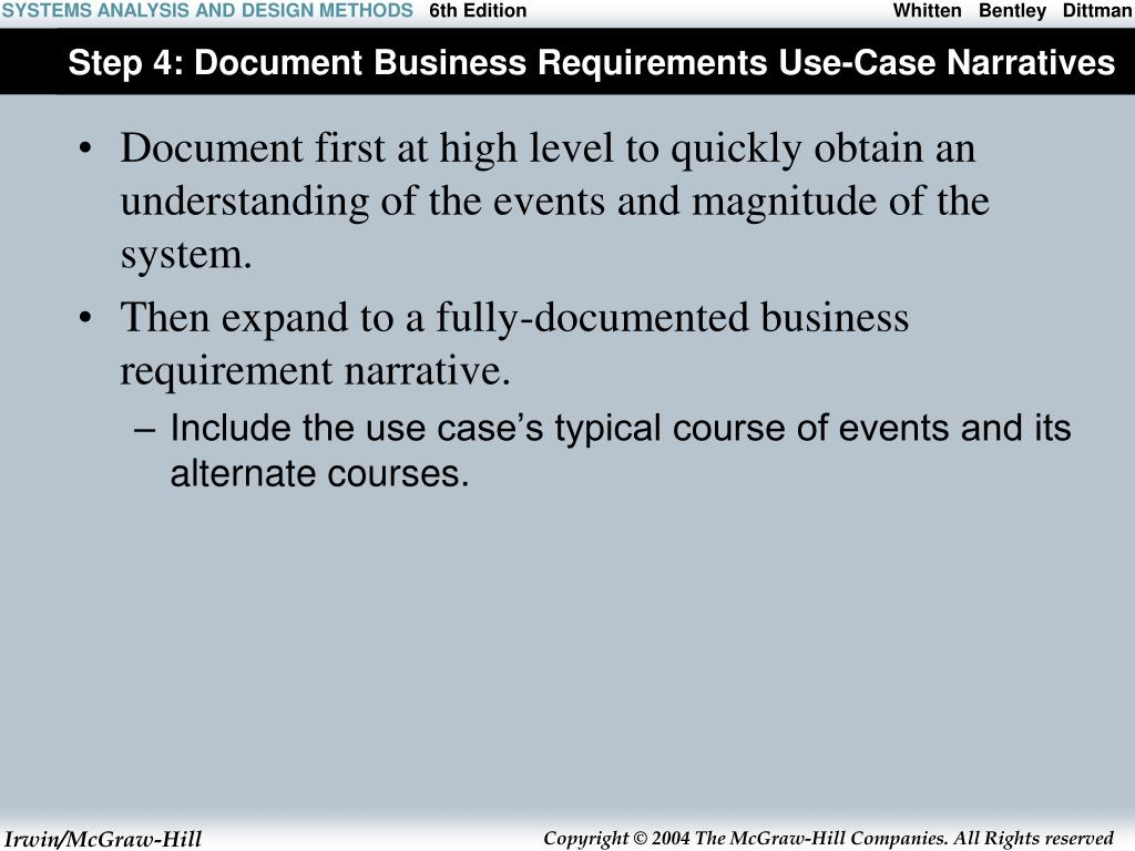 Step 4: Document Business Requirements Use-Case Narratives