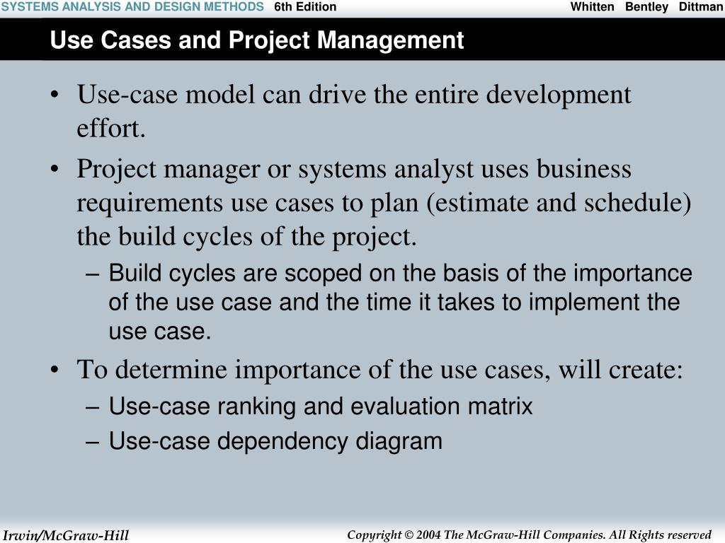 Use Cases and Project Management