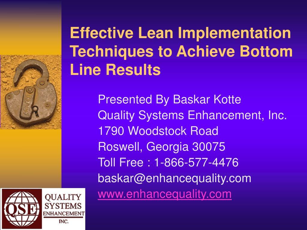 effective lean implementation techniques to achieve bottom line results l.