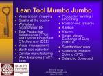 lean tool mumbo jumbo