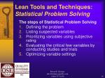 lean tools and techniques statistical problem solving