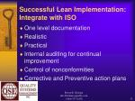 successful lean implementation integrate with iso