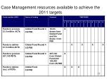 case management resources available to achieve the 2011 targets