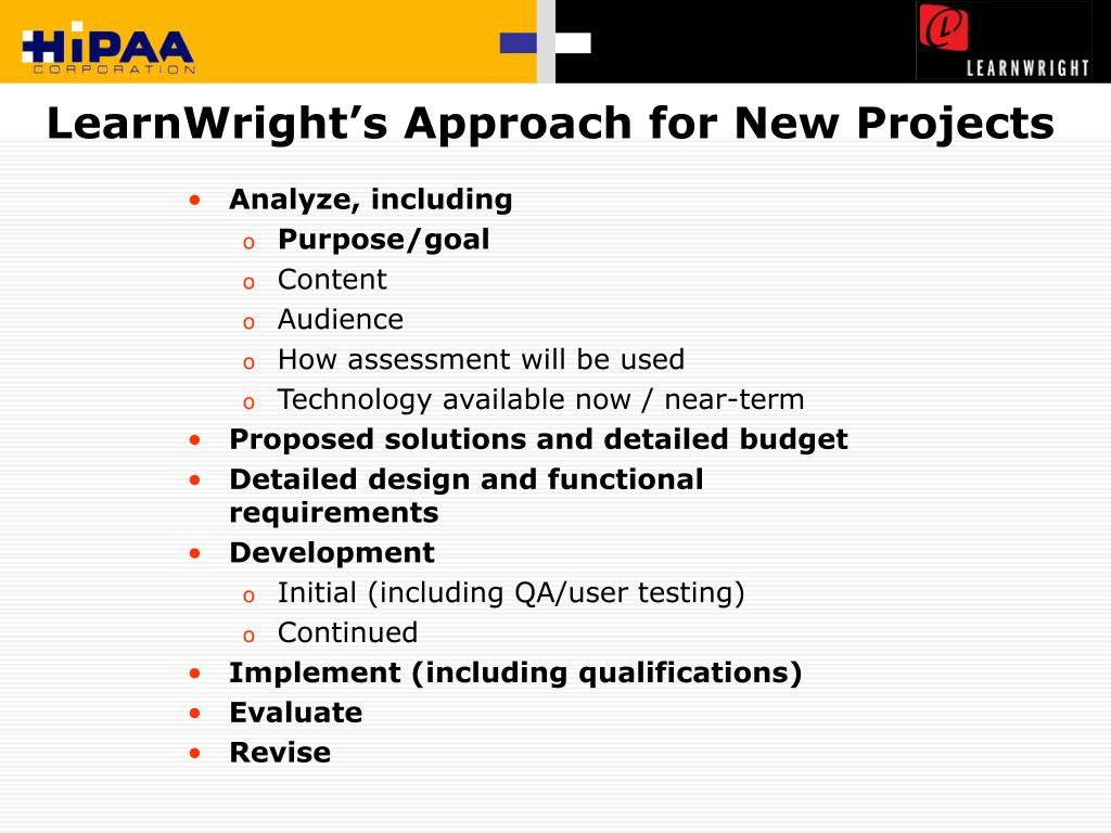 LearnWright's Approach for New Projects
