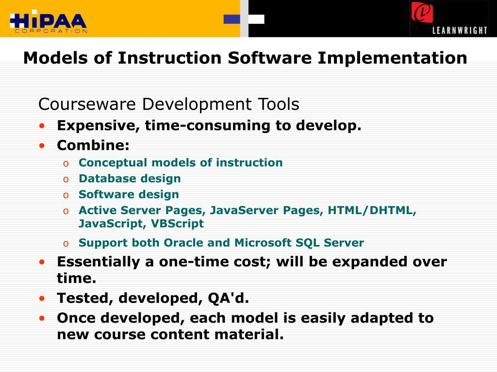 Models of Instruction Software Implementation