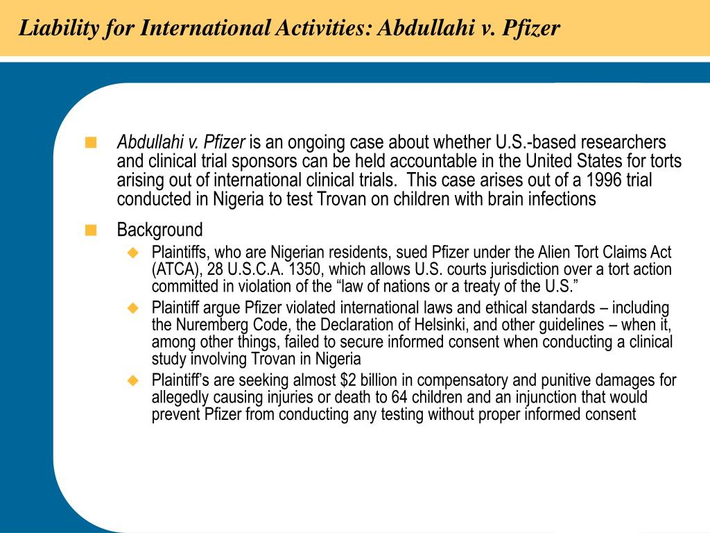 Liability for International Activities: Abdullahi v. Pfizer