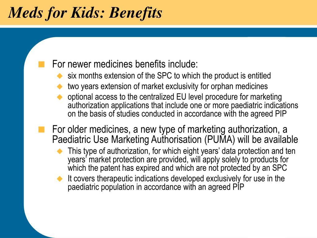 Meds for Kids: Benefits