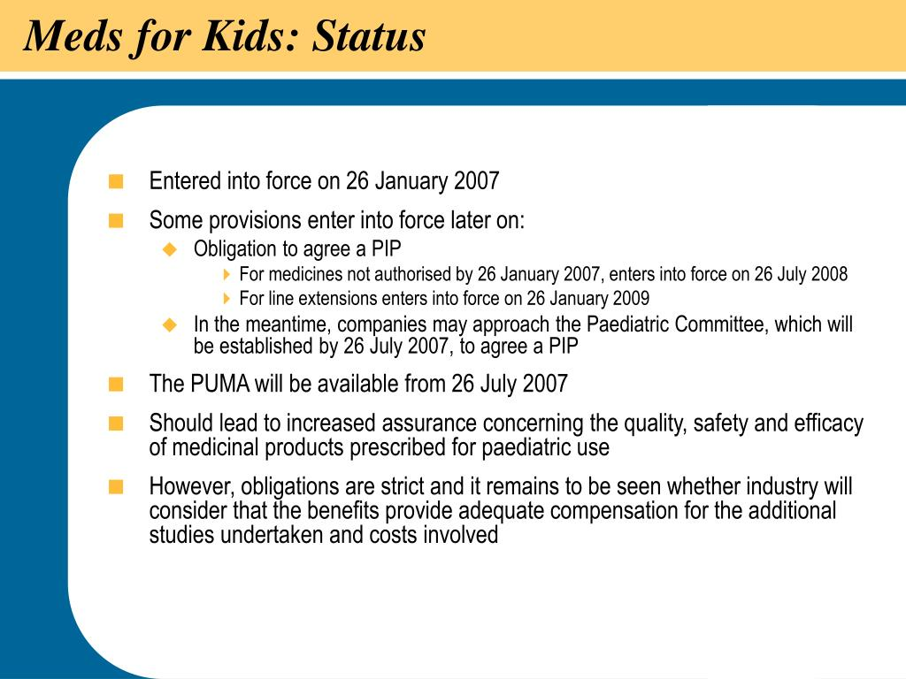 Meds for Kids: Status